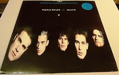 """Take That  Sure  4 Track 12"""" Maxi  Rca Records 1994 With Tour Poster"""