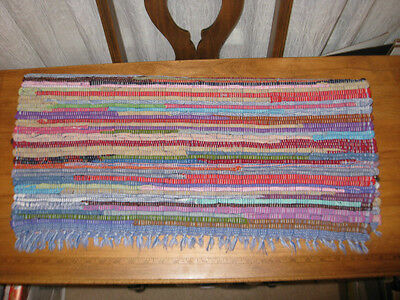 Bright Colored Rag Woven Rug With Blue Warp