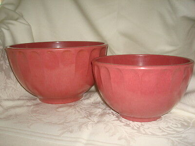 2 BOONTON Raspberry PINK Mottled MELAMINE Mixing Bowls 2 & 4 QT USA Made Quality
