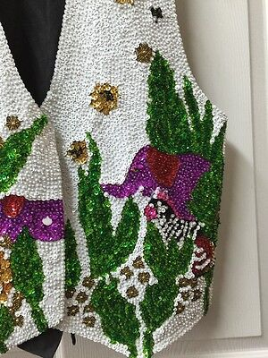 Vintage Sequin Women's Vest Elephants Multicolor Size Small Bali Gem