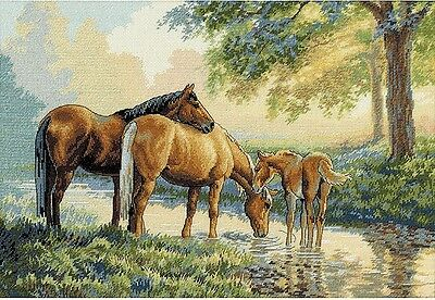 Horses by the Stream - Cross Stitch Chart - Free Postage