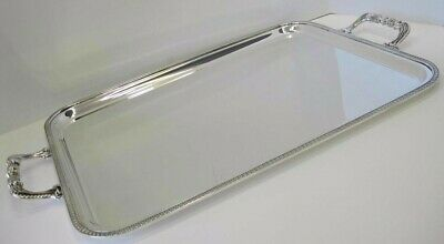 925 Sterling Silver Handmade Empire Border Rectangular Tray With Handles 01059-7