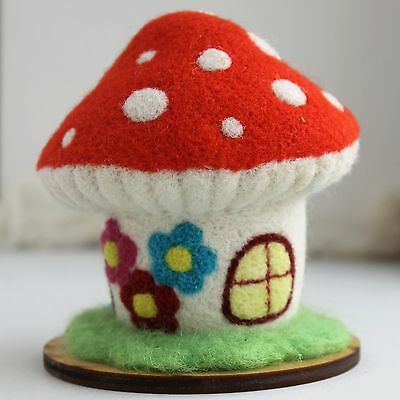 Handmade felted pin cushion with amanita house, artist composition, 3 ½in.
