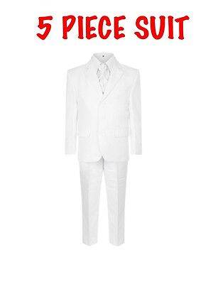 Kids White Italian. Style Smart 5 Piece Suit Formal Wedding Party Page Boy Baby