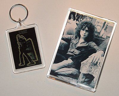 Marc Bolan - 'electric Warrior' Large Sized Keyring & Jumbo Fridge Magnet Set
