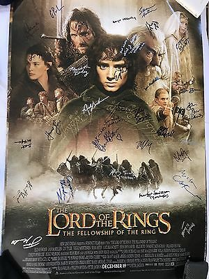LOTR:THE FELLOWSHIP OF THE RING SS Poster SIGNED by 30 Cast & Dr comes w/ COA