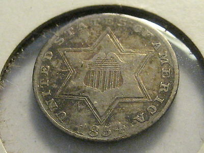 1854 Three Cent Silver Piece Ty II VF