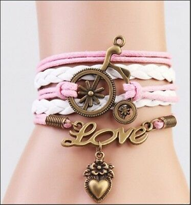 Infinity ship wheel PINK Love HEART Pendant Friendship Charm Bracelet