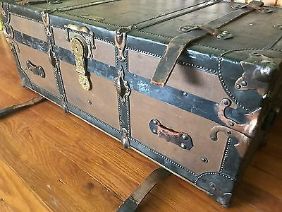 Antique Wood Steamer Trunk James I Gallacher Maker Salt Lake City