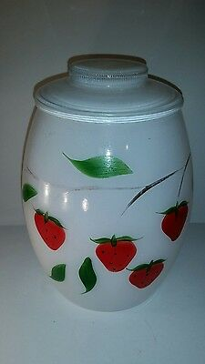 Bartlett Collins White Strowberry Gay Fad Cookie Biscuit Jar Canister with Lid