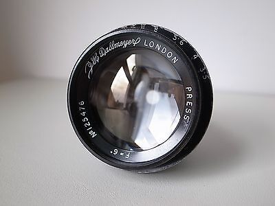 "DALLMEYER PRESS (DALMAC) 6"" F3.5 Fast Vintage Brass Camera Bokeh Lens RARE!"