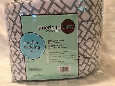 American Baby Company Percale Toddler Bedding Sheet Set Gray, 4 pc, M2
