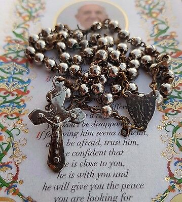 Vintage France military rosary - Catholic - Charm - Blessed by Pope