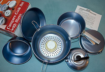GELERT Camper's Cook Set with Stove - camping, backpacking, cycling, festivals