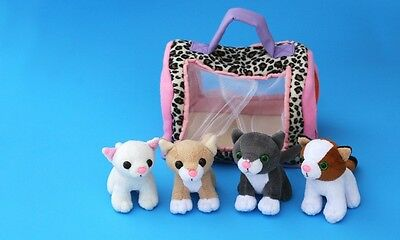 Meowing Kitties Cats set of 4 with Carrie Squeeze Plush, palm-sized kittens
