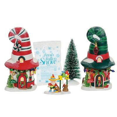 """Dept 56 North Pole """"MERRY LANE COTTAGES""""  BOXED SET NIB 2017 FREE SHIPPING"""