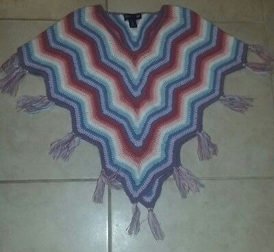 Limited too knitted fringe sweater poncho size 10 small pastel rainbow