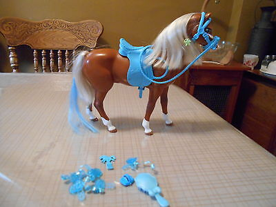 Mattel Brand Brown Barbie Horse w Turquoise saddle, reins and accessories EUC