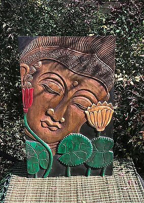 Unique Hand Carved Buddha Face Painted In Brown & Gold 60Cm H X 38Cm W
