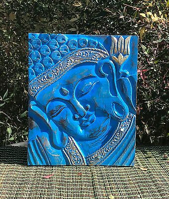 Unique Hand Carved Buddha Face Painted In Blue & Gold  40Cm H X 29Cm W