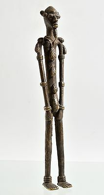 "African 12.5""H DOGON, Mali, Bronze / Brass standing Tall MAN figure, Tribal Art"