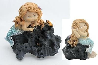 SET of 2 Sea Mermaid Sitting on Rock with Bird & Shell Fantasy Figurine Statue