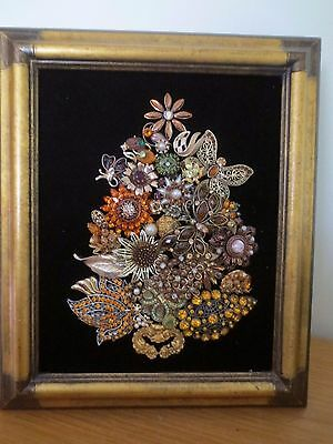 * Vintage Jewelry * Jeweled Framed Art * Rhinestone Tree Arrangement * Lovely *