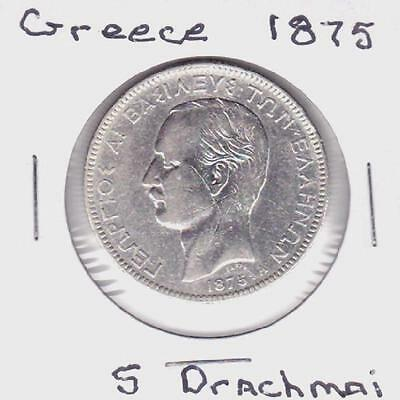 1875 Greece 5 Drachmai Coin Km# 46