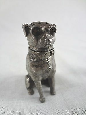 c.1880 Antique Calligraphy Sander (Silver Figural Pounce Pot) Pug Dog Glass Eyes