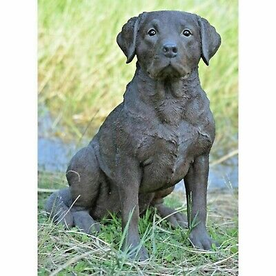 Labrador Retriever Black  Life Size Realistic Home Garden Decor Statue Figurine