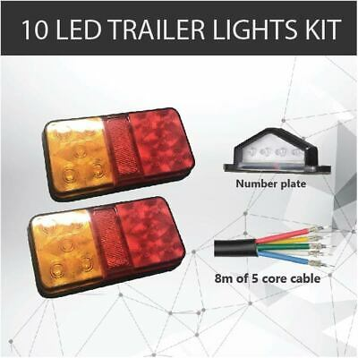Pair of 10 LED TRAILER LIGHTS KIT - 1 x NUMBER PLATE LIGHT, 8M x 5 CORE WIRE 12V