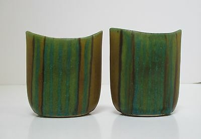 Fong Chow Glidden Pottery Gulfstream Pair of Striped Cigarette Holders or Vases