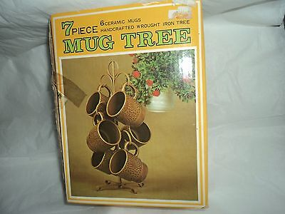 VINTAGE 6 COFFEE CUP MUGS WITH METAL TREE STAND SET New in Box