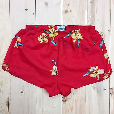 High Waisted Shorts Women's S Vtg 1970's Red Floral Running Booty Festival Rave