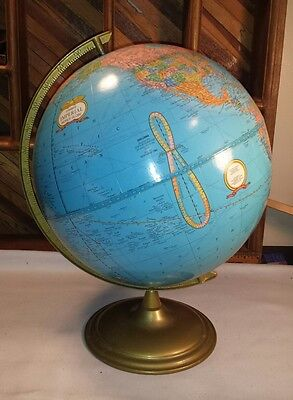 "Vintage CRAMS 12"" Wide Rotating Imperial World Globe Metal Base 16"" High"