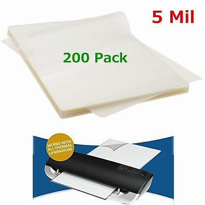 """5 Mil 200 Pack Letter Size Thermal Laminator Laminating Pouches 9"""" X 11.5"""" Sheet"""