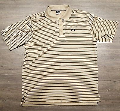 Under Armour Mens Beige Black Striped Short Sleeve Polo Shirt Large L