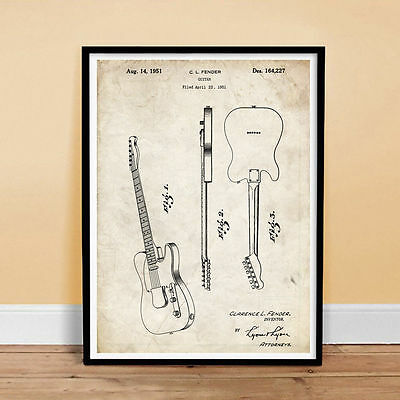 Fender Telecaster Guitar Us Patent Print 18X24 Poster Vintage Repro New Gift
