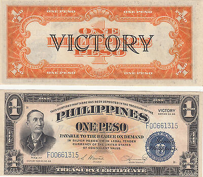 Philippine 1 Peso Victory Series 66 Treasury Certificate,1944,p#94,#f00661315,cu