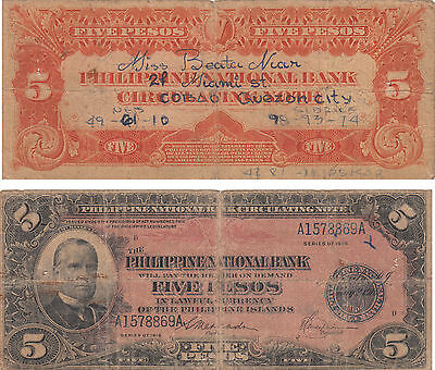 Philippine National Bank 5 Pesos Banknote,mckinley,series Of 1916,#a1578869A