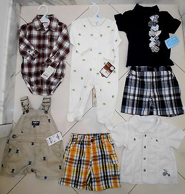 New $118 Lot 7 Pc Baby Boy Clothes TOP BRANDS Shirts Overalls Pants PJs~6-9 M