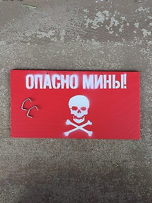 RUSSIAN DANGER MINE  Military MINEFIELD AMMO CRATE SIGN SOVIET USSR WARNING