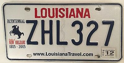 Louisiana NEW ORLEANS license plate ZHL 327 USA Battle Andrew Jackson graphic