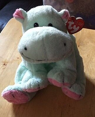 Ty Pluffies Tubby The Hippo Mint Green Rare Retired   NWT Tylux Plush Toy