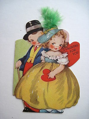 Cute Little Vintage Valentine Card w/ Boy & Girl w/Real Feather In Her Hat *