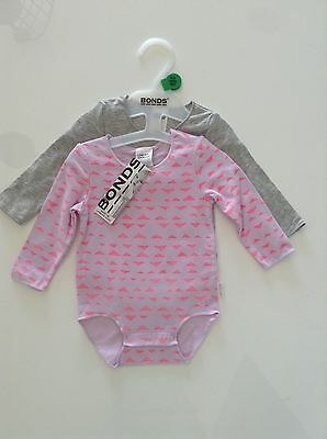 NWT Bonds Baby Girls Pink Print 2Pack Long Sleeve Bodysuits Size 000-0 RRP$29.95
