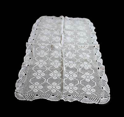 Vintage white fine crochet lace tablerunner table centrepiece measuring 76cm
