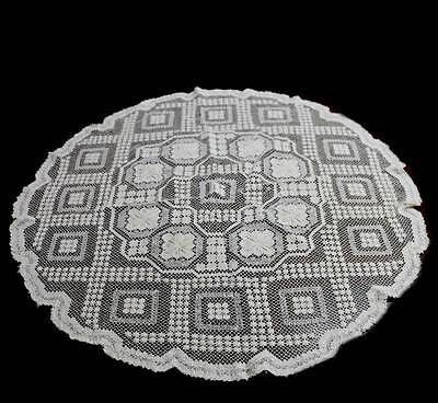 Vintage cream pretty lace round tablecloth supper cloth measuring approx 75cm
