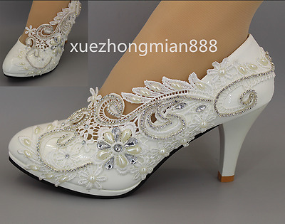 Lace White Wedding shoes Rhinestones pearl  Bridal low high heel pump Size 4-10