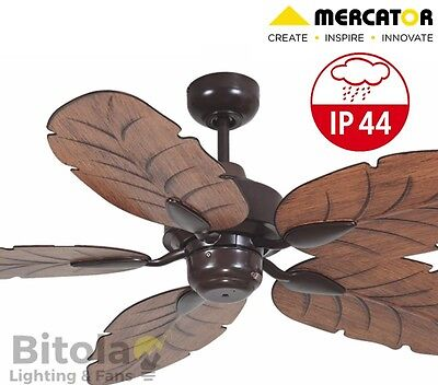 New Mercator Cooya Ip44 Outdoor Rated Ceiling Fan 5 Blade - Brown - Fc190135Br